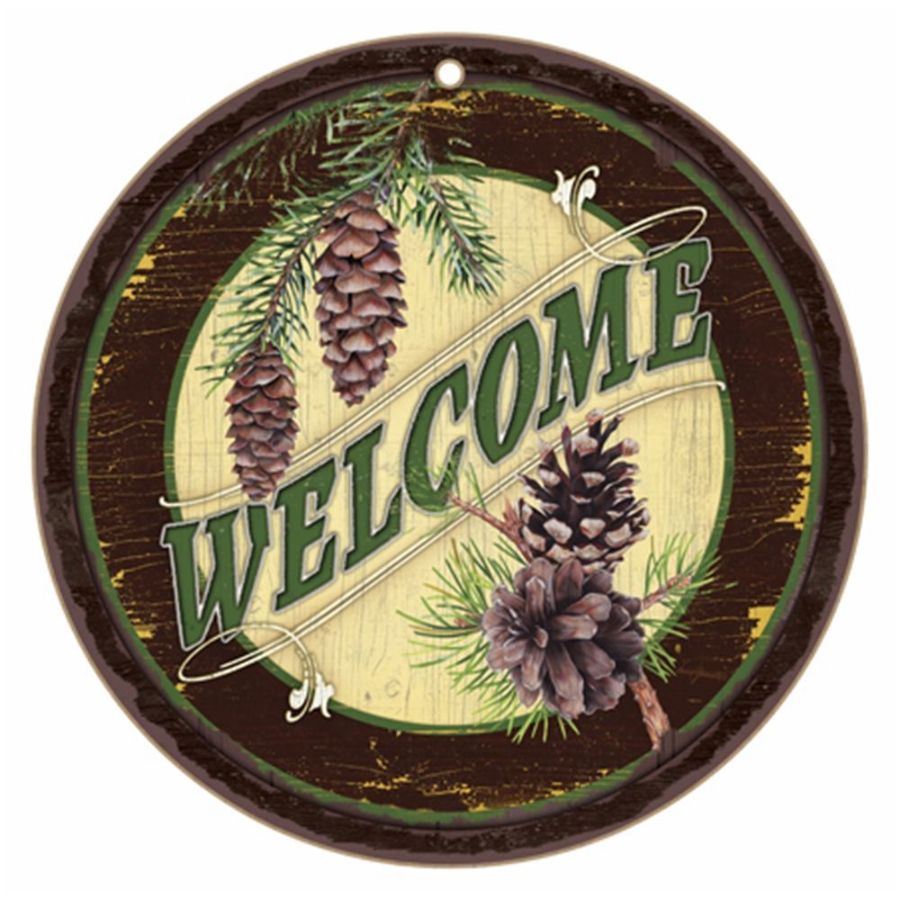 Plaque Rustic Welcome Sign Wood Decor Pine Cones 10 Inch Round ...