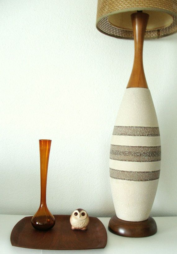 Vintage Danish Teak And Ceramic Lamp