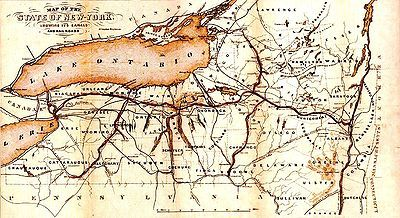 Erie Canal   Wikipedia, The Free Encyclopedia 1853 Map Of New York Canals  Emboldened,