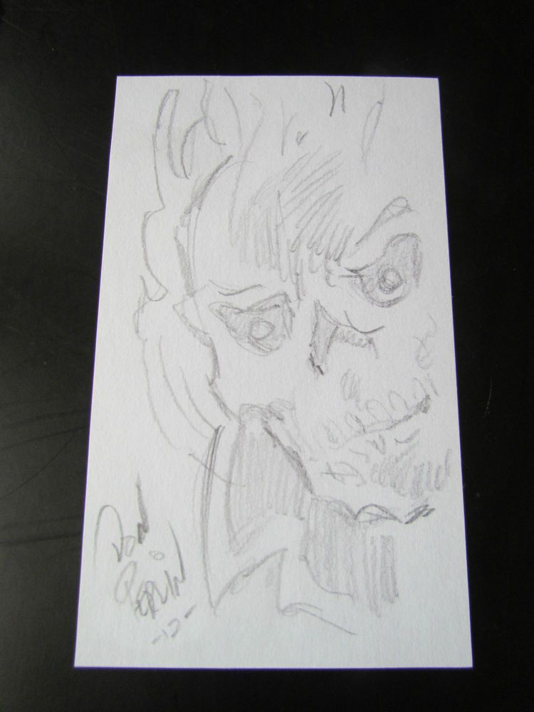 PSA/DNA DON PERLIN AUTOGRAPHED 3 X6  ORIGINAL SKETCH OF GHOST RIDER!
