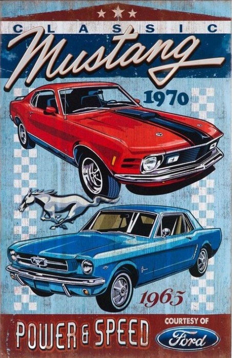 Ford Mustang 20x30 Cm Mustangclassiccars Retro Mustang Avtomobili