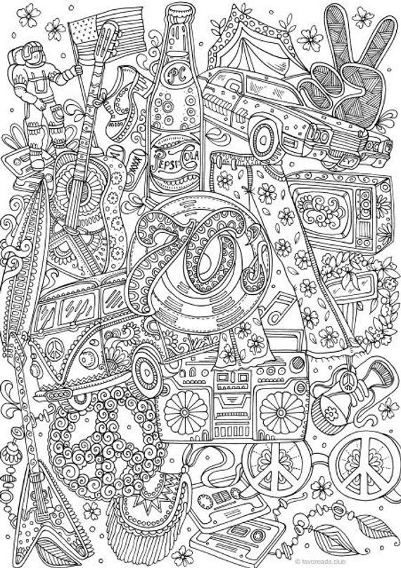 groovy 70s printable adult coloring page from favoreads coloring book pages for adults and. Black Bedroom Furniture Sets. Home Design Ideas