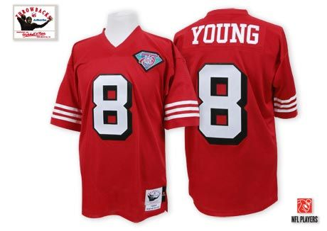 4e875da1 San Francisco 49ers #8 Steve Young Red 75TH Throwback Jersey | NFL ...