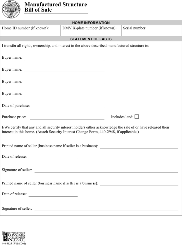 Oregon Manufactured Structure Bill Of Sale Form Download The Free Printable Basic Bill Of Sale Blank Form Template Or Wa Bill Of Sale Template Bills Templates