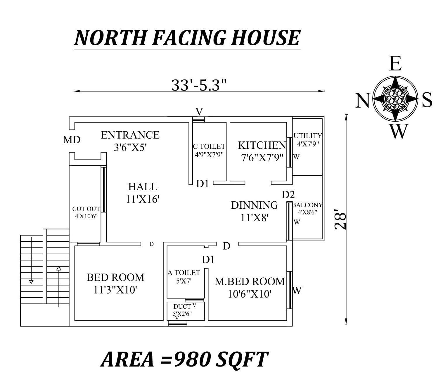 33 X28 Amazing North Facing 2bhk House Plan As Per Vastu Shastra Autocad Dwg And Pdf File Details 2bhk House Plan North Facing House House Plans