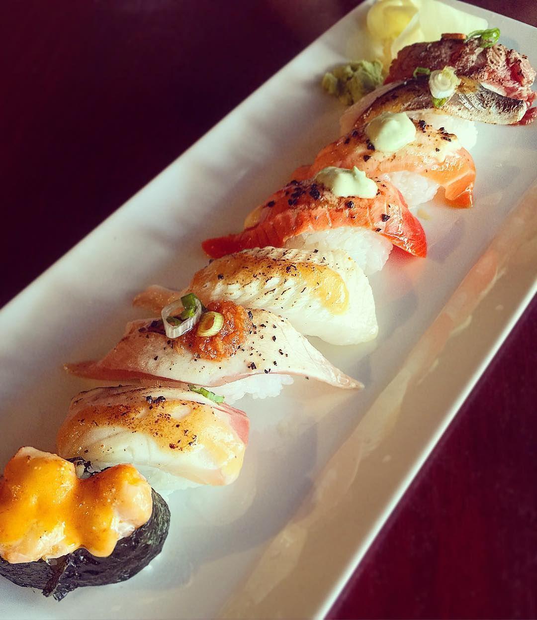 #yvreats #vancitybuzz #vancity #vancouverfoodie #foodieoverselfie #foodie #japanesefood #oishi #delicious #yummy #mouthwatering #foodporn #nigiri #aburi #collection #sushi #sushiloku #sushiforbreakfast #breakfast #lategram #fresh Such great tasting aburi a collection of Tuna Salmon Wild Salmon Hamachi Tako Beef Toro Chopped scallop by timewarpremy