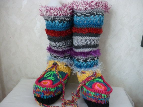 Pattern Crochet Boot Slippers Knitted Pattern Boot Colorful