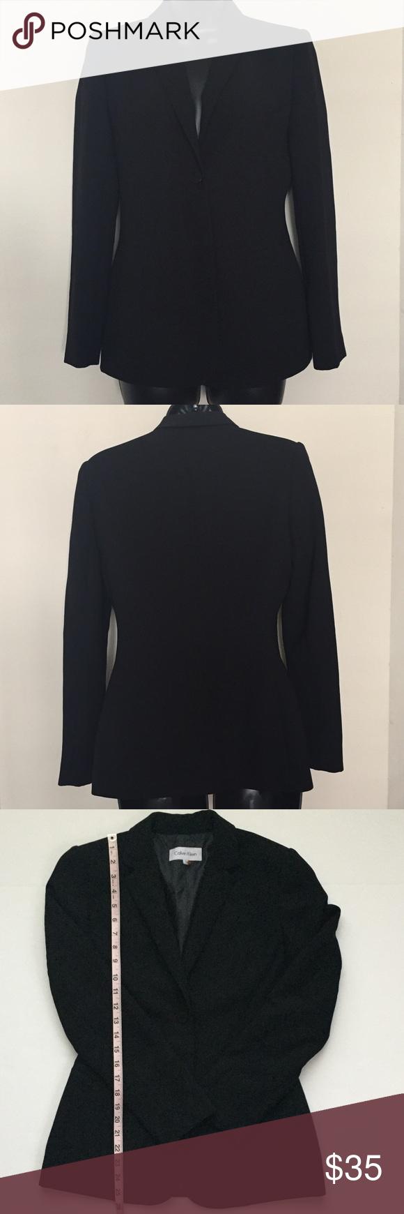 Calvin Klein Career Black Suit Jacket Blazer 2 Black Suit Jacket Black Suits Womens Blazer Black [ 1740 x 580 Pixel ]