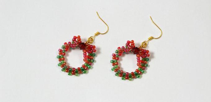 Beaded Christmas Wreath Earrings Caleb Christmas Earrings