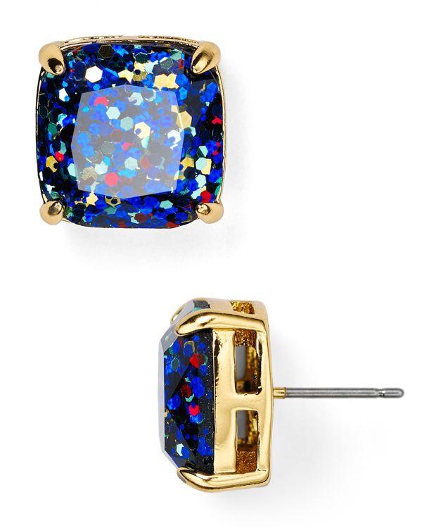 kate spade new york Small Square Glitter Stud Earrings   Bloomingdale's