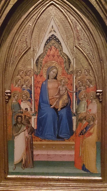 Madonna and Child Enthroned with Eight Saints and Eight Angels, ca. 1338-1340, Italy.  Workshop of Bernardo Daddi.  On display at the Nelson-Atkins Museum, KC