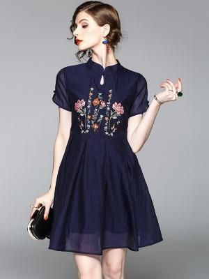 f8793bb8c3c9 Embroidered Fit & Flare Qipao / Cheongsam Dress - CozyLadyWear by AnneF