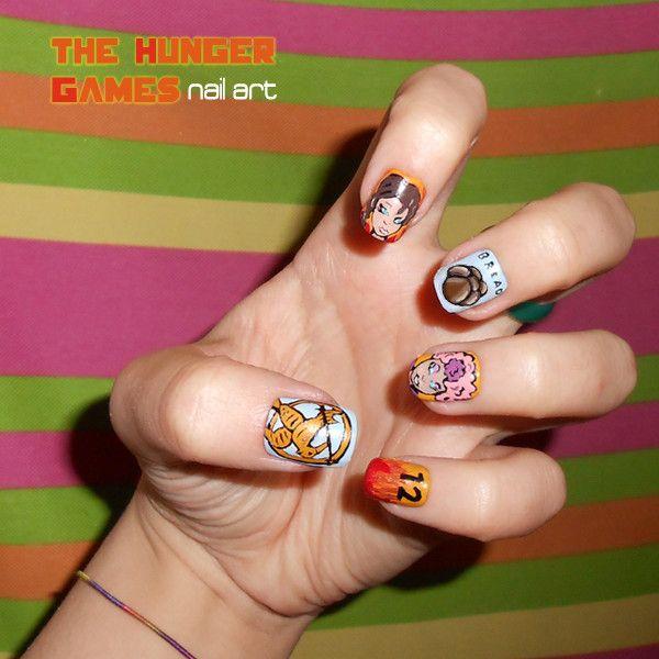 The Hunger Games nail art by rorabi.deviantart.com
