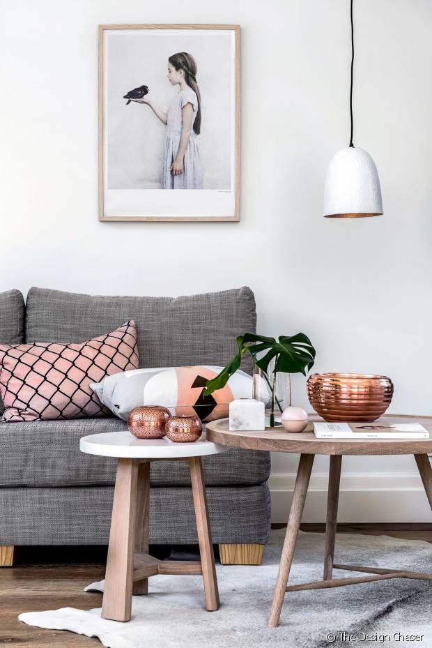 Cuivre Rose Et Gris Deco Pinterest Living Room Decor Living