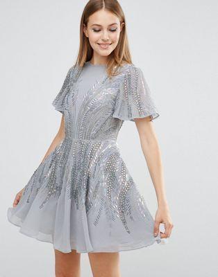 ASOS Silver Sparkle Skater Mini Dress