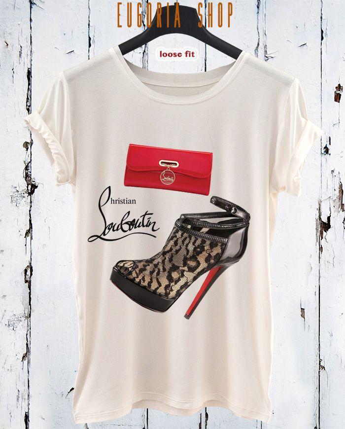 Christian Louboutin fashion, pop art tshirt, white, black t-shirt , Printed T-Shirt , cotton tshirt , eco print tshirt , loose tshirt , waisted shirt, short long sleeve tshirt, woman man tshirt