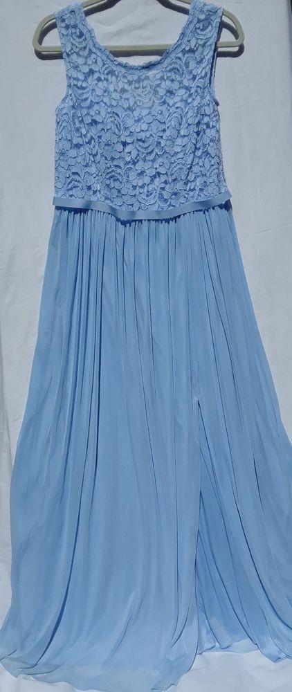 fcffa351995 David s Bridal F19328 Long Bridesmaid Dress Lace Bodice Ice Blue Homecoming  14