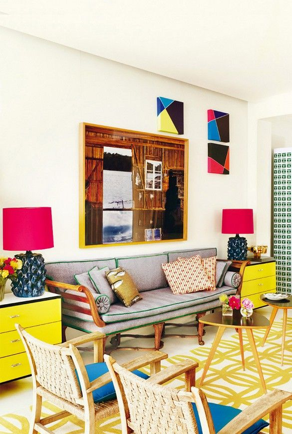 Bold living room with primary color palette.