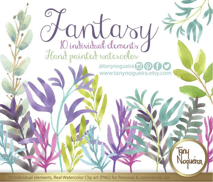 Fantasy hand painted colorful leaves and steams Clipart, PNG, hand - fresh invitation card quotes for freshers party