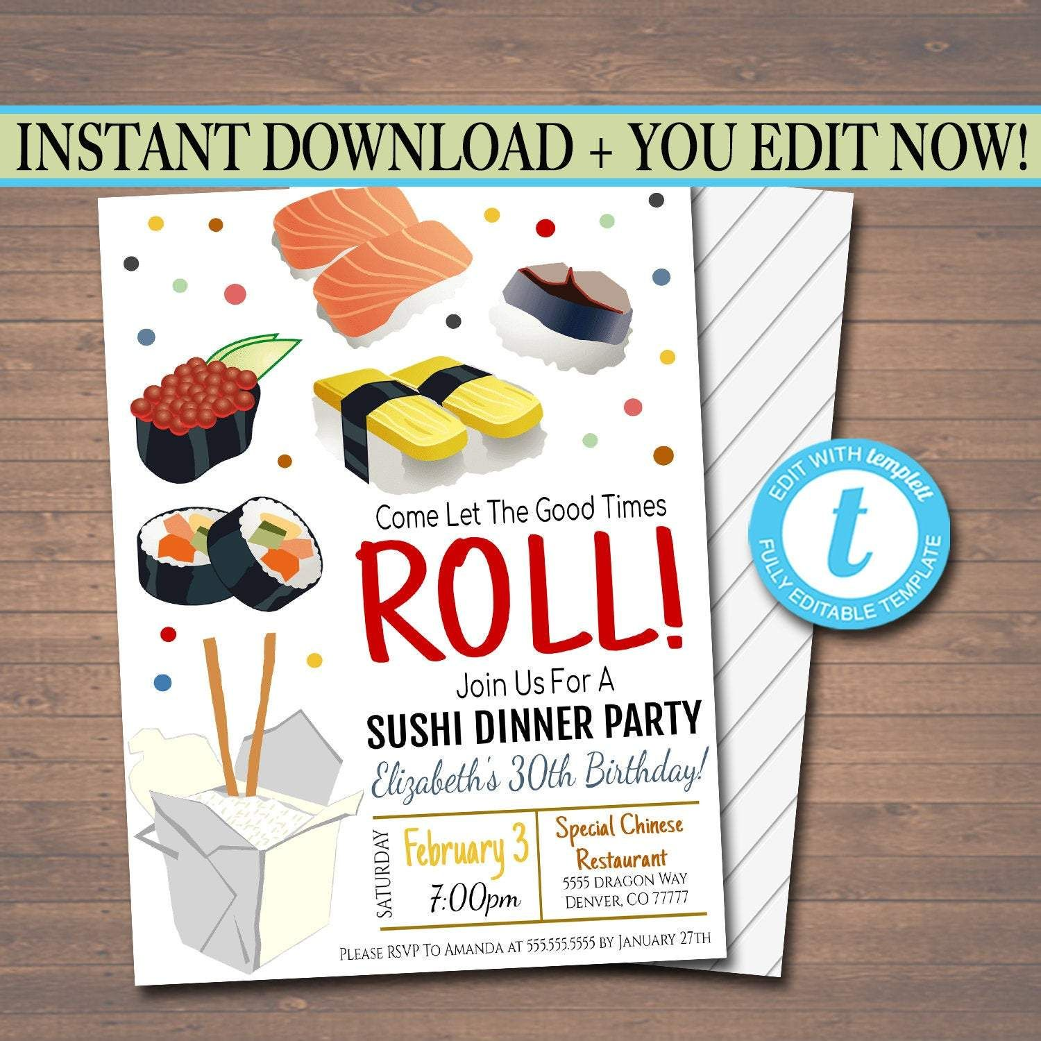 Sushi Dinner Party Invitation, Party Invite, Chinese Restaurant