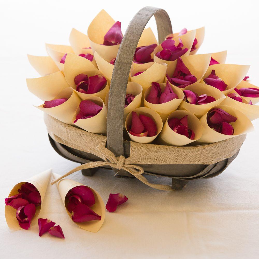 Riviera Trug Basket With Confetti Cones Biodegradable Rose Petals