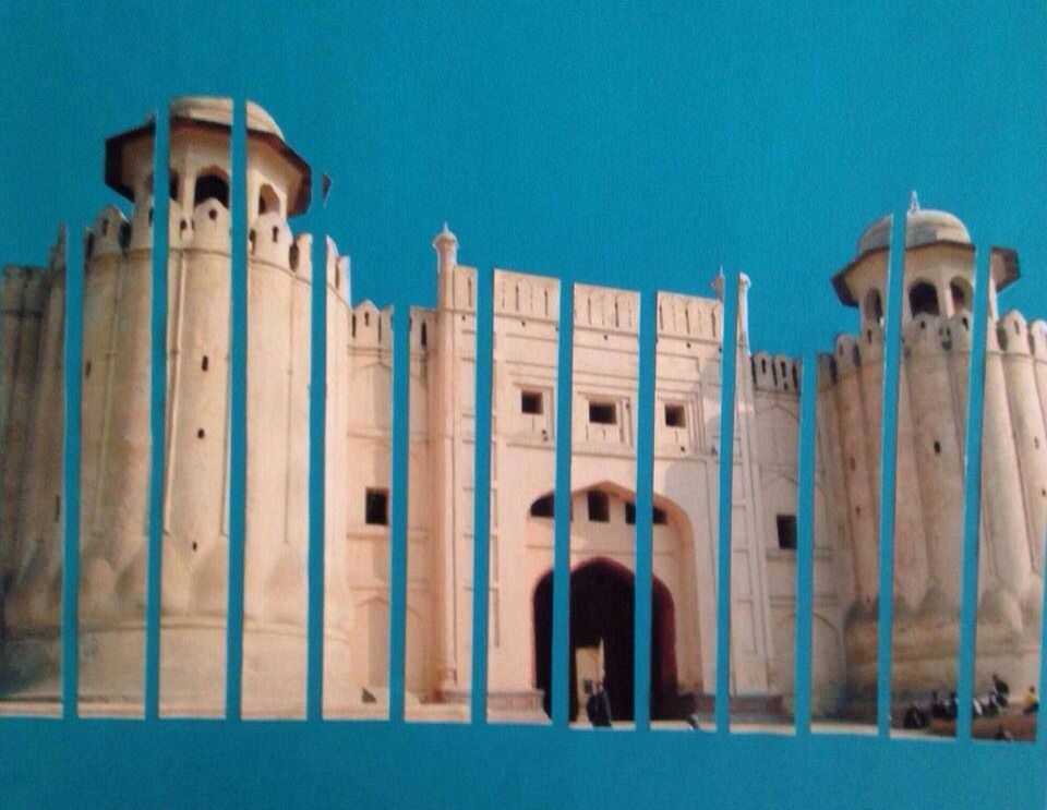 Lahore fort Mixes media collage Collaborative work by special needs students @ SCEI www.sceipak.org