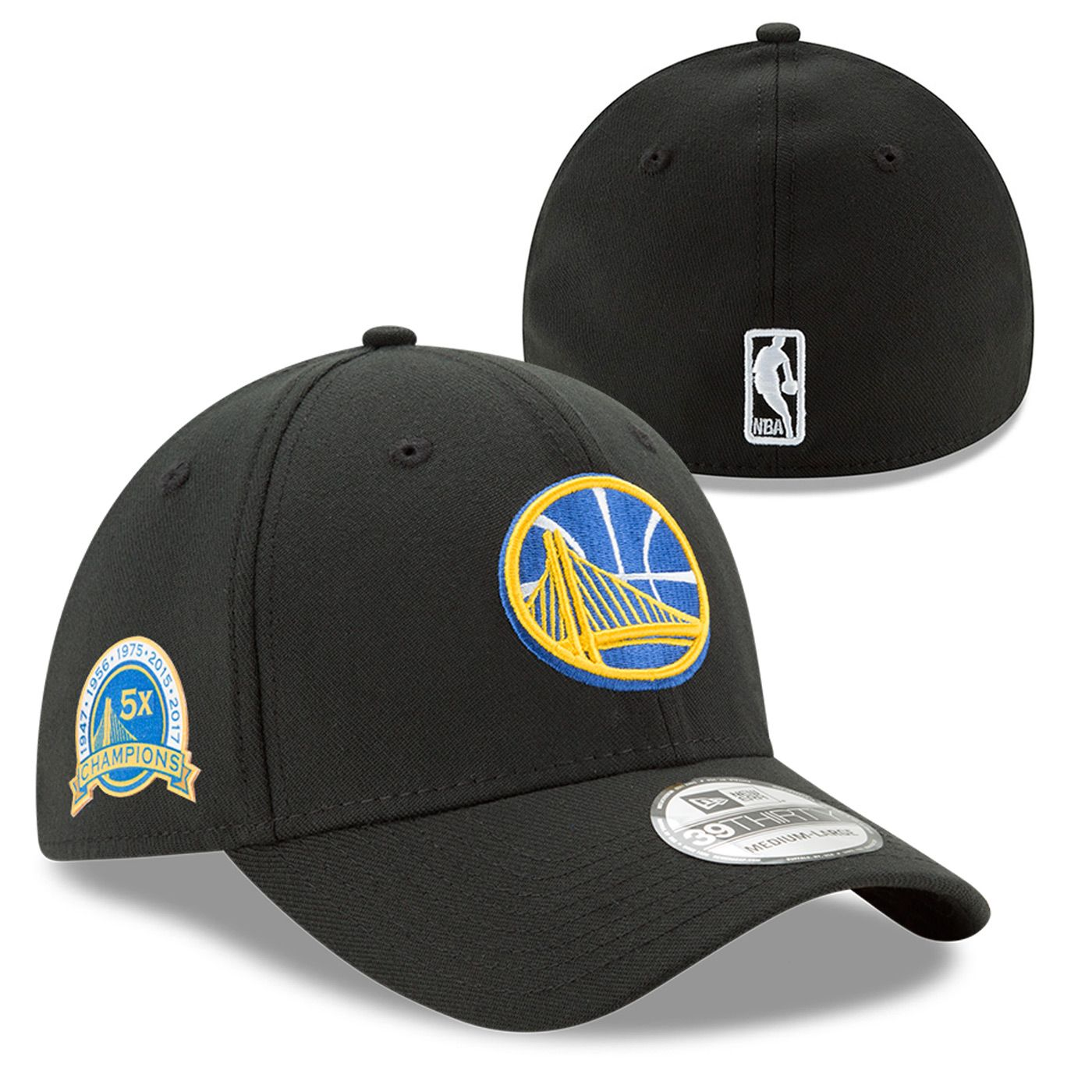 Golden State Warriors New Era 2017 NBA Finals Champions 5X Champs 39THIRTY  Flex Cap - Black 8c2f8599e8c9