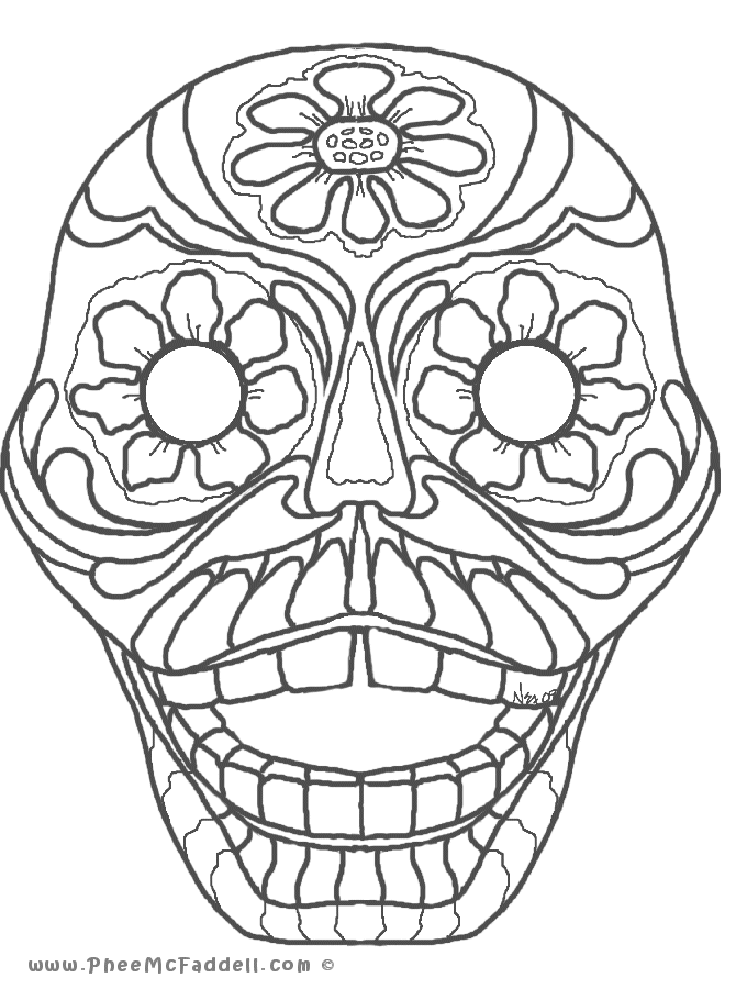 day of the dead coloring page | skull coloring pages