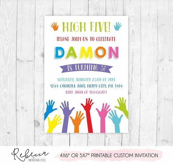 5th Birthday Invitation High Five Party Printable Hi 5 Invite