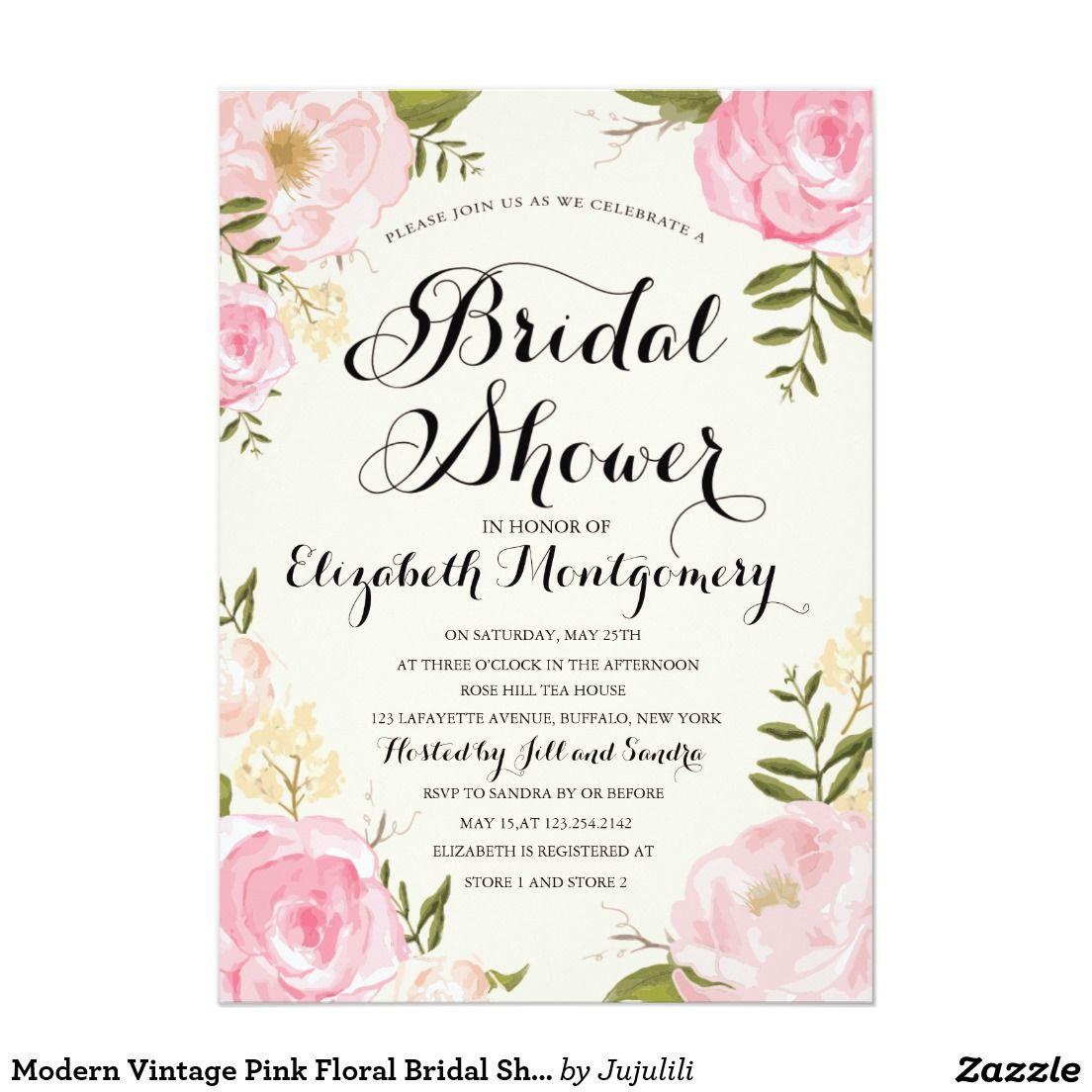 Modern vintage pink floral bridal shower wedding bridal for Classic bridal shower invitations