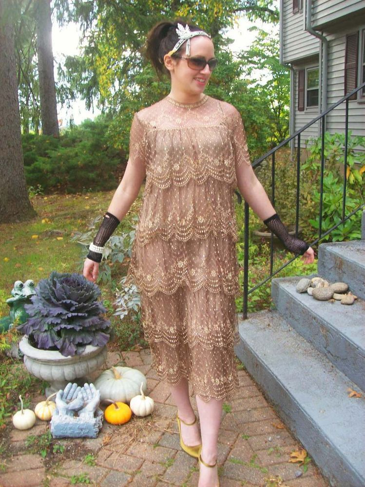 Vintage rina di montella great gatsby theme dress outfit headpiece ...