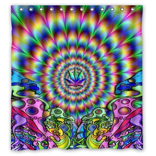 Custom Trippy Mushroom Psychedelic Shower Curtain 66 X 72