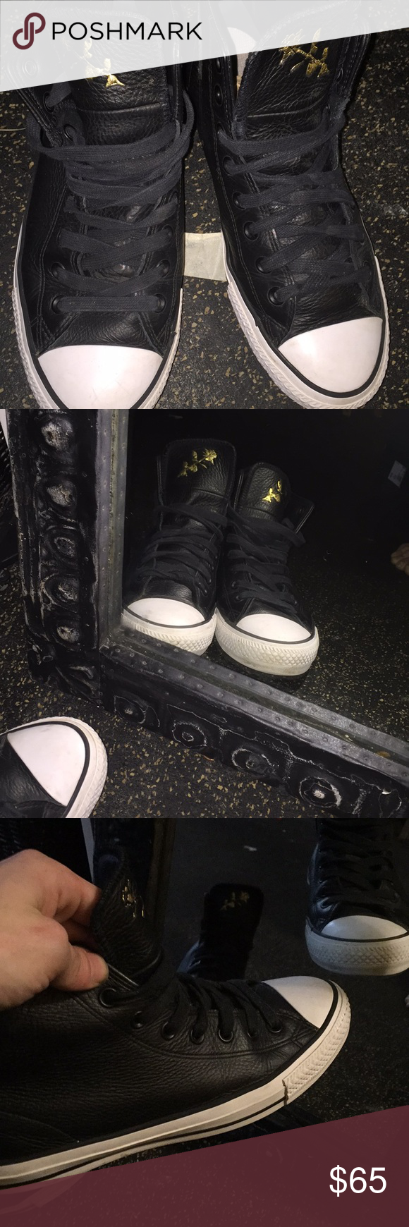 informal rock Permanentemente  Converse Black with gold rose gold converse chuck Taylor all star Emblem.  Nike i…   Black leather converse shoes, All black leather converse, Converse  leather shoes