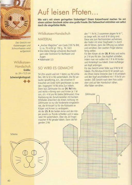Manopla gatito crochet patron | DECO CASA cocina y comedor ...