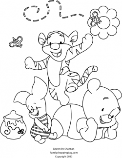 color page baby pooh tiger piglet printables fonts