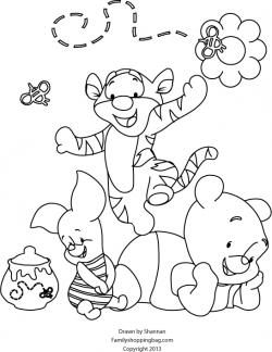 color page baby pooh tiger piglet printables fonts