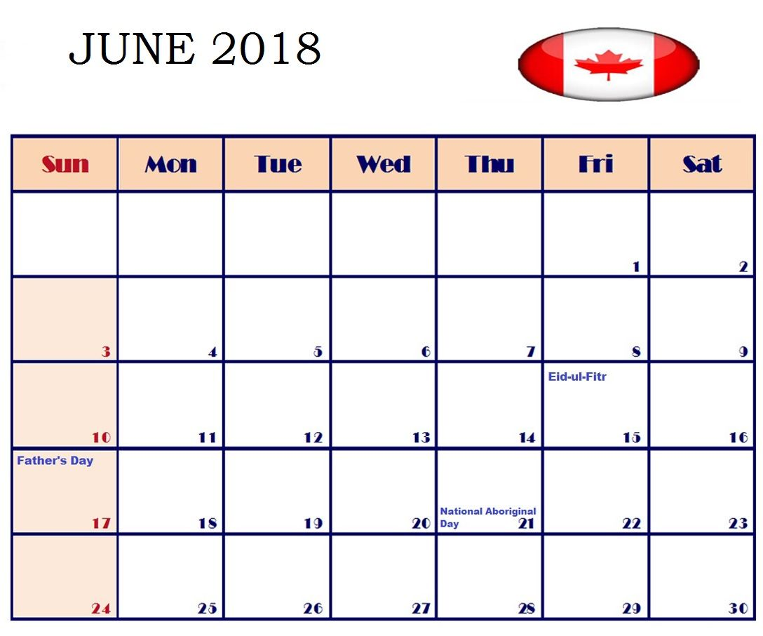 June Canada Holidays Calendar 2018 Canada holiday