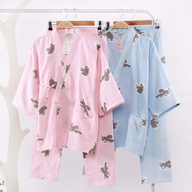 Pyjamas Womens Butterfly Pattern PJs 100/% Jersey Cotton Striped Top Pyjamas Set