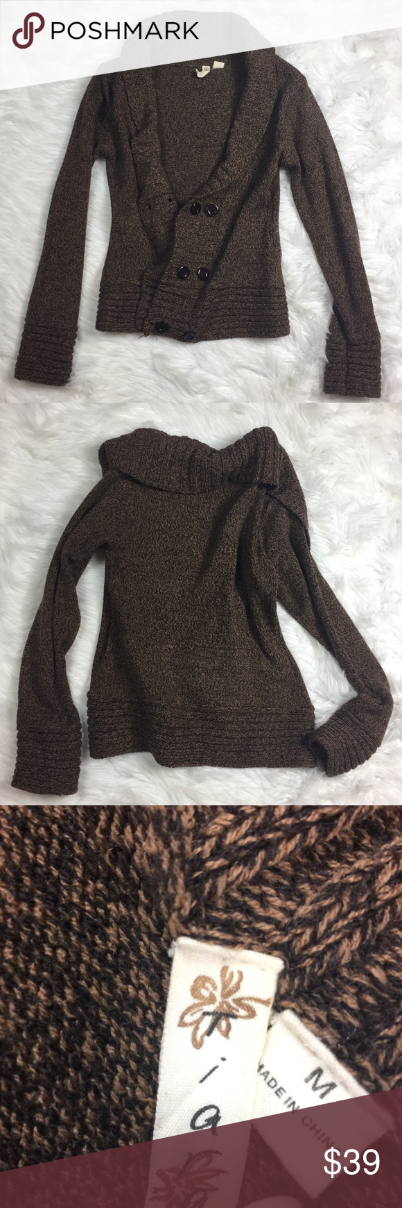 TIARA • Brown Button Front Cardigan Sweater | Sweater cardigan ...
