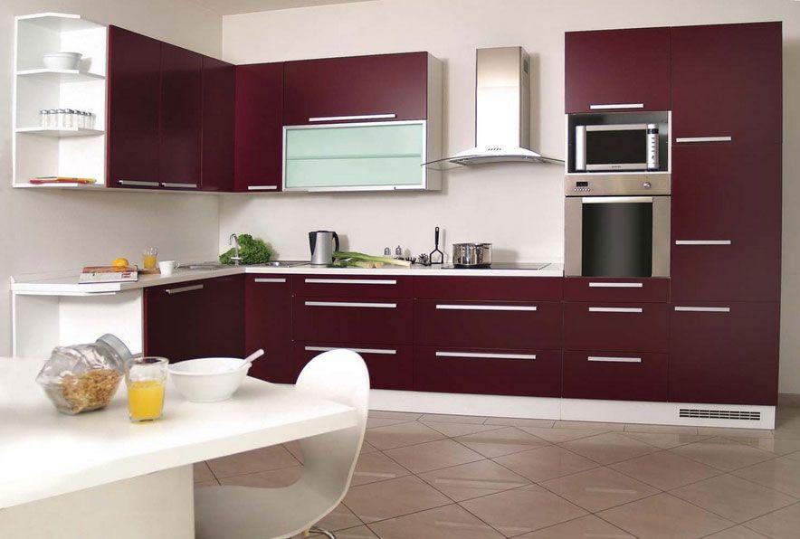 cucina-design-con-il-colore-rosso-nellarmadio-della-cucina-e-il ... - Decorare Con Le Pareti Grigie E Mobili Beige