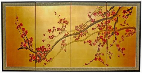 Oriental Wall Art japanese plum tree hand-painted wall art on gold painted leaf silk