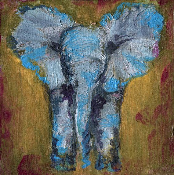 Elephant, ORIGINAL Acrylic Painting on wood