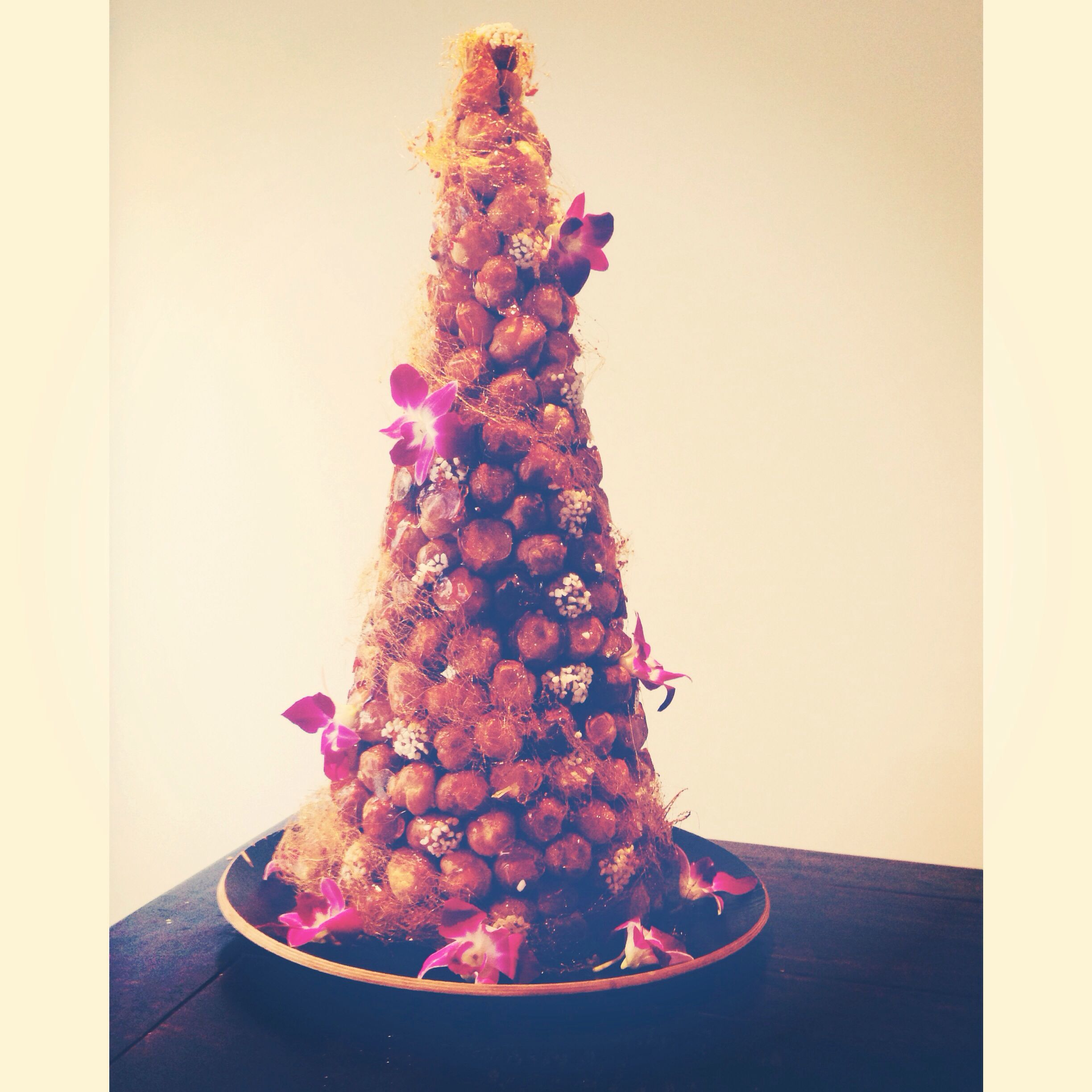 Croquembouche Made Using Adriano Zumbo's Recipe. Puffs Filled With Vanilla Creme Patissiere