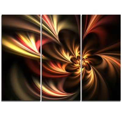 Designart Glossy Yellow And Red Fractal Flower 3 Piece Graphic Art On Wrapped Canvas Set Canvas Wall Art Art Design Art
