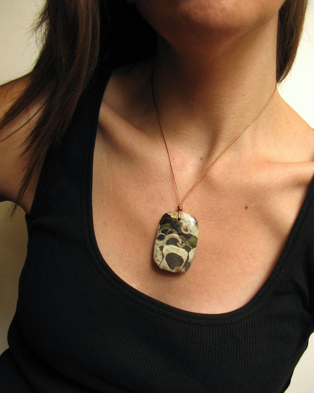 Mushroom Jasper Necklace, Leather and Sterling. By girl tuesday jewelry,+$40.00