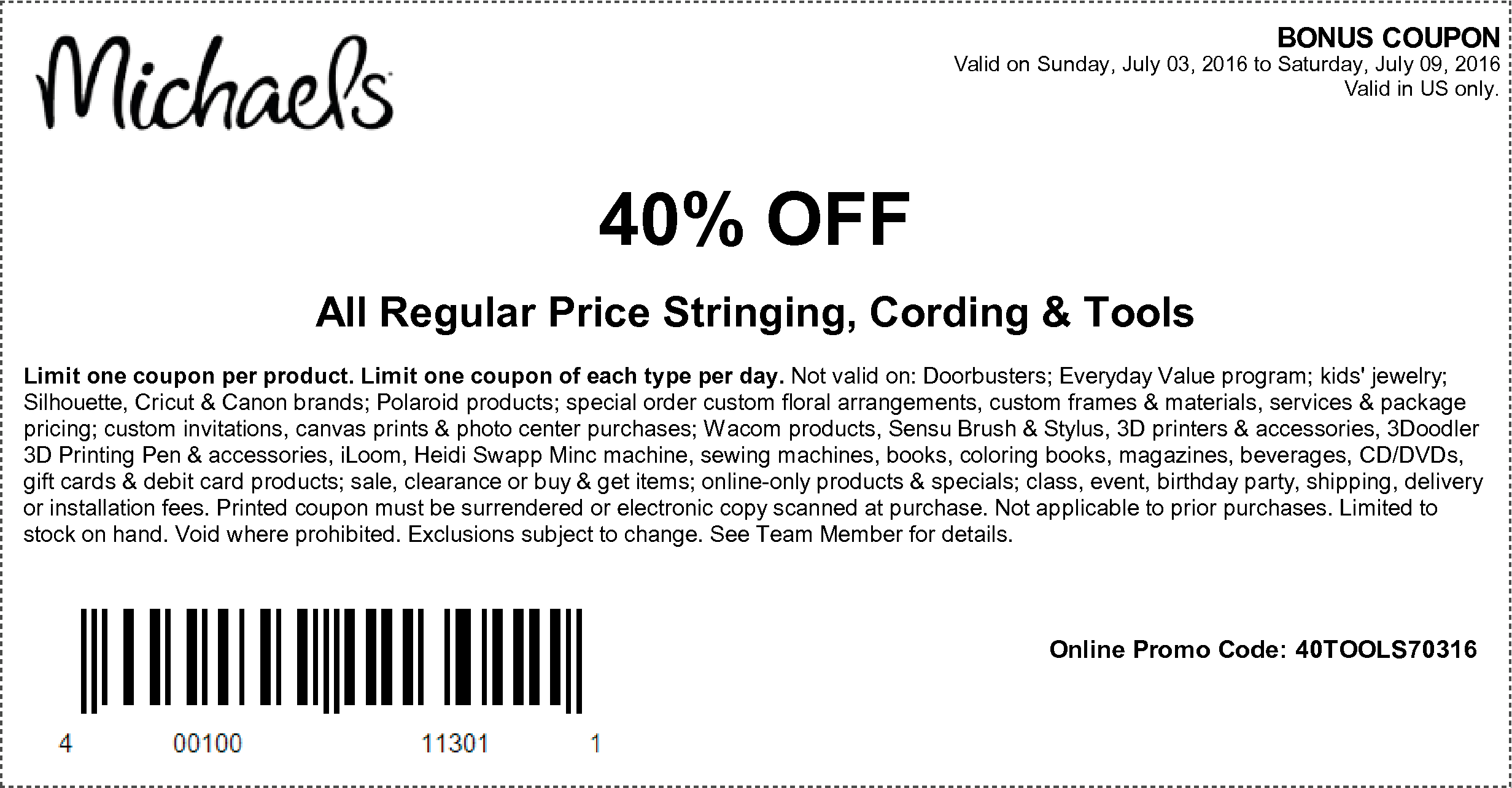 photograph about Michaels Coupon Printable titled On the internet Inside of-Keep Discount codes