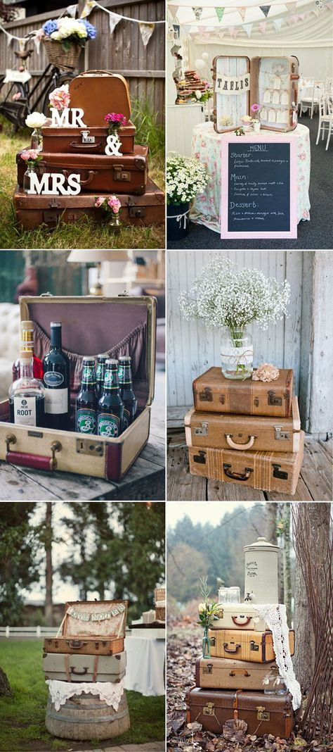 50+ Creative Ideas to add Vintage Charm to Your Wedding Decorations #vintagesuitcasewedding