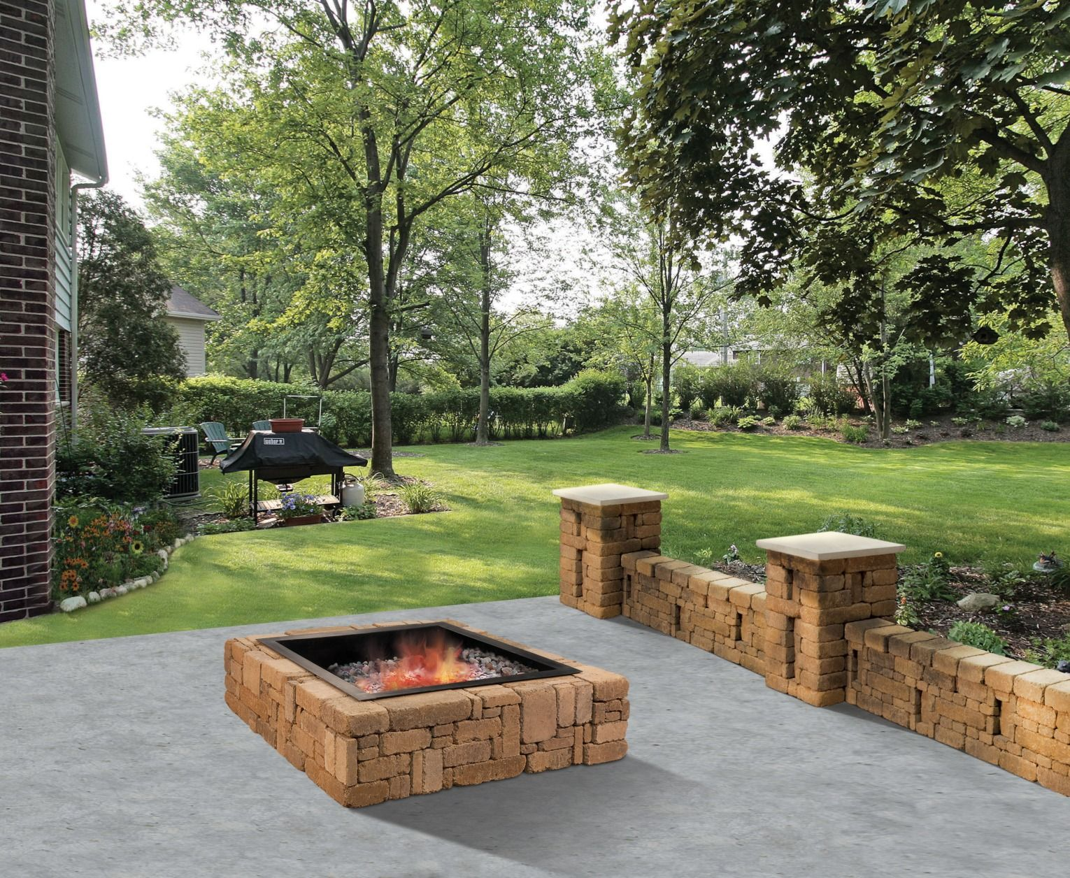 warm up the whole family with the rustic fire pit this square