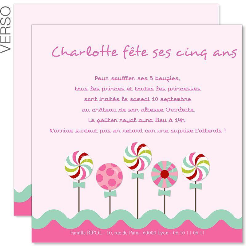 carte d invitation anniversaire fille a