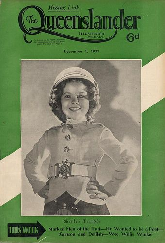 Illustrated front cover from The Queenslander, December 1, 1937 -- Shirley Temple